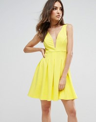 Club L Structured Plunge Detailed Skater Dress Yellow