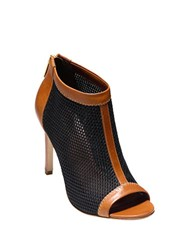 Cole Haan Adella Mesh And Leather Booties Pecan Black