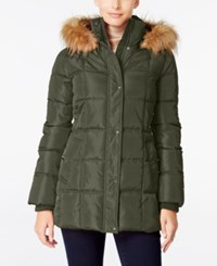 Tommy Hilfiger Faux Fur Trim Hooded Quilted Puffer Coat Only At Macy's Army