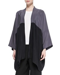 Eskandar Open Front Colorblock Silk Jacket Grey Black