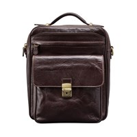 Maxwell Scott Bags Luxury Italian Leather Men's Large Shoulder Bag Santino L Chocolate Brown
