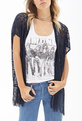 Forever 21 Floral Lace Kimono Navy