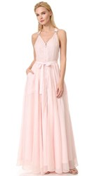 Adam Selman Long Overall Gown Blush Stripe