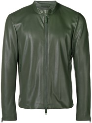 Emporio Armani Perforated Faux Leather Jacket Green