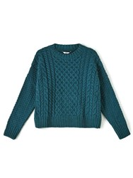 Dash Teal Cable Knit Jumper Turquoise