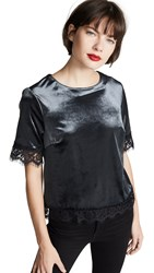 Three Dots Velvet And Lace Top Anthracite
