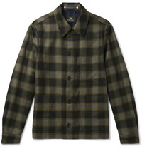 Paul Smith Ps By Checked Wool Blend Shirt Jacket Brown