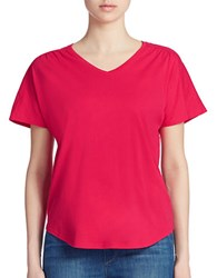 Lord And Taylor Plus Shirred V Neck Tee Jazzy Pink