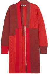 Mcq By Alexander Mcqueen Oversized Patchwork Knitted Cardigan Red