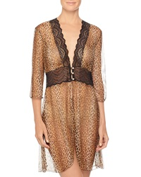 Cosabella Elise Leopard Print Lace Trimmed Robe Black