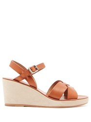 A.P.C. Judith Leather And Suede Wedge Sandals Tan