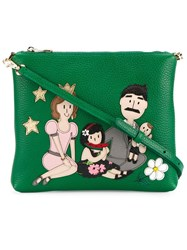 Dolce And Gabbana Family Patch Crossbody Bag Green