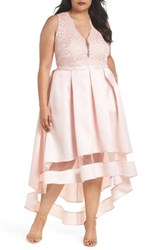 Marina Plus Size Women's Lace And Pleated High Low Gown Blush