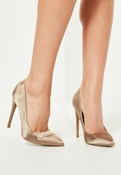 Missguided Nude Satin Pointed Toe Court Shoes Natural