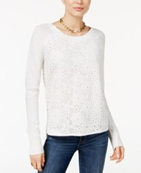Tommy Hilfiger Lace Sweater Only At Macy's Ivory