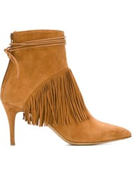 Bionda Castana Fringed Tie Wrap Ankle Boots Brown
