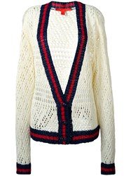 Hilfiger Collection V Neck Corporate Cardigan White