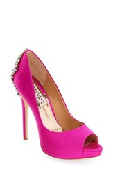 Badgley Mischka Women's 'Kiara' Crystal Back Open Toe Pump Carmine Pink Satin