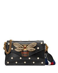 Gucci Broadway Pearly Bee Shoulder Bag Black