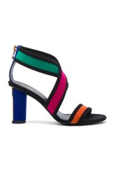 Balmain Suede Talon Strap Sandals In Black Green Orange Pink Black Green Orange Pink