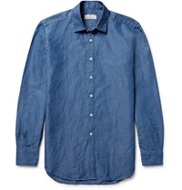 Canali Slim Fit Slub Cotton And Linen Blend Shirt Blue