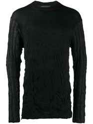 Yohji Yamamoto Distressed Wrinkle Effect Sweatshirt Black