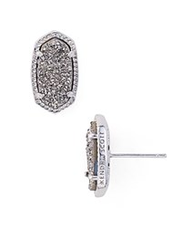 Kendra Scott Ellie Stud Earrings Platinum Drusy Silver