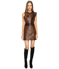 Neil Barrett Leather Slim Fit Dress Brown Women's Dress