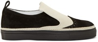 Ad Ann Demeulemeester Black And White Suede Wingtip Slip On Sneakers