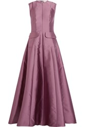 Merchant Archive Silk Blend Duchesse Satin Gown Purple