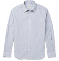 Hardy Amies Victor Striped Cotton Seersucker Shirt Blue