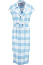 Oscar De La Renta Checked Wool Blend Trench Coat Blue