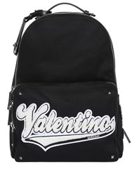 Valentino Terrycloth Logo Patch Canvas Backpack Black