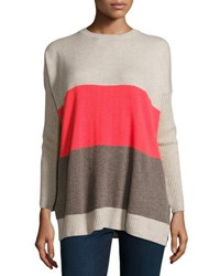 Autumn Cashmere Side Button Colorblock Sweater Bone Mulch