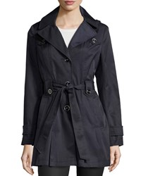 Via Spiga Scarpa Single Breasted Hooded Trenchcoat Navy