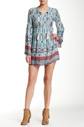 Iris Printed Bell Sleeve Dress White