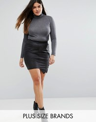 Junarose Leather Look Skirt With Zip Detail Black