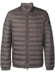 Peuterey Padded Jacket With Logo Tag Grey