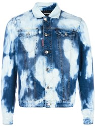 Dsquared2 Heavily Bleached Denim Jacket Blue