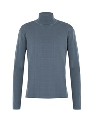 Wooyoungmi Ribbed Knit Roll Neck Wool Sweater Light Blue