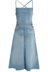 Mother Frayed Faded Denim Midi Dress Light Denim