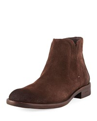 John Varvatos Waverly Suede Chelsea Boots Dark Brown