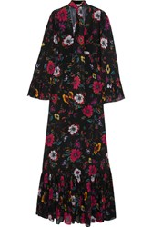 Mcq By Alexander Mcqueen Pussy Bow Printed Chiffon Maxi Dress Black