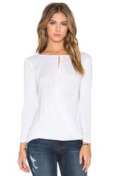 Velvet By Graham And Spencer Carthy Textured Knit Long Sleeve Top White