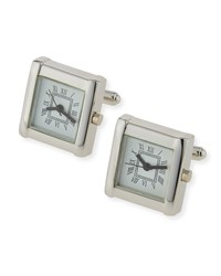 Jan Leslie Roman Numeral Watch Cuff Links White