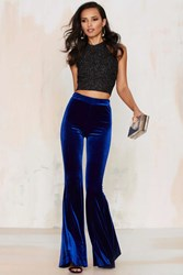 Nasty Gal Annabel Lee Velvet Flare Pants Blue