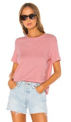 Monrow Rib Relaxed Basic Crew Tee In Pink. Peachy Pink