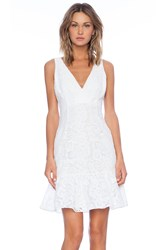 Marchesa Voyage Ruffle Hem Tank Dress White