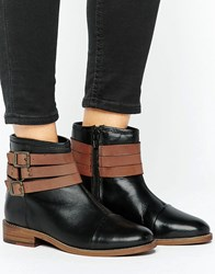 Ravel Strap Leather Flat Boot Black Leather