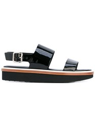 Tod's Strapped Sandals Women Leather Rubber 38.5 Black